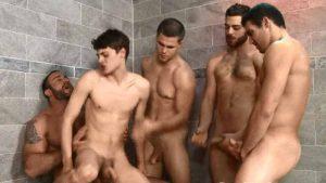 imagen Orgia gay para desvirgar el culo al nuevo del salón